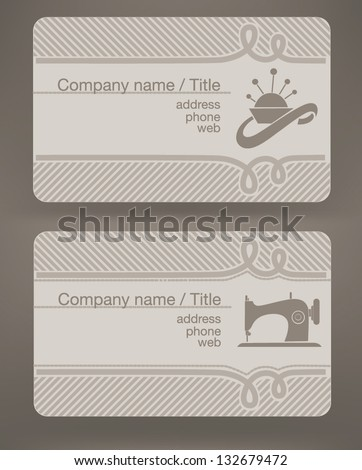 business cards for fashion designer and tailor - stock vector