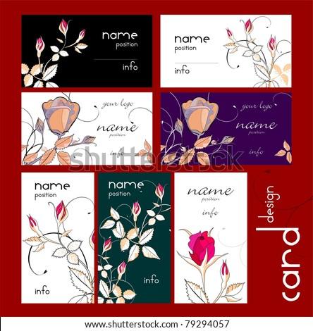 Business cards set - rose design - stock vector