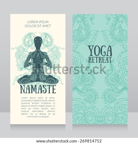Business cards template yoga retreat yoga stock vector 269814752 business cards template for yoga retreat or yoga studio can be used for hinduism religious reheart Choice Image