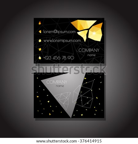 Business Cards Template Or Visiting Card Set Gold Crystals On A Black Background