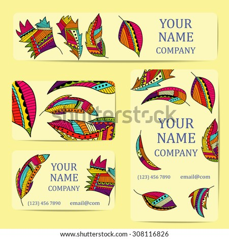 Business cards with colorful leaves. Card or invitation.Vintage decorative elements. Corporate Identity vector templates set with doodles colorful leaves - stock vector