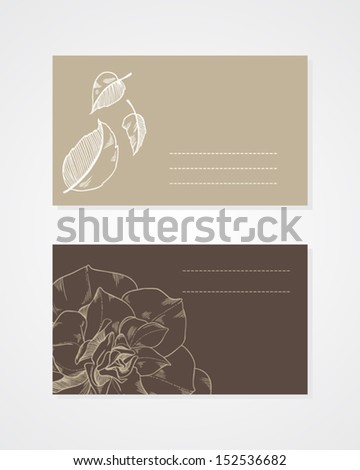 business cards with flowers and leaves template