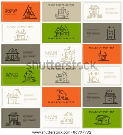 Business cards with houses for your design - stock vector