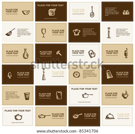 Business cards with kitchen utensils for your design - stock vector