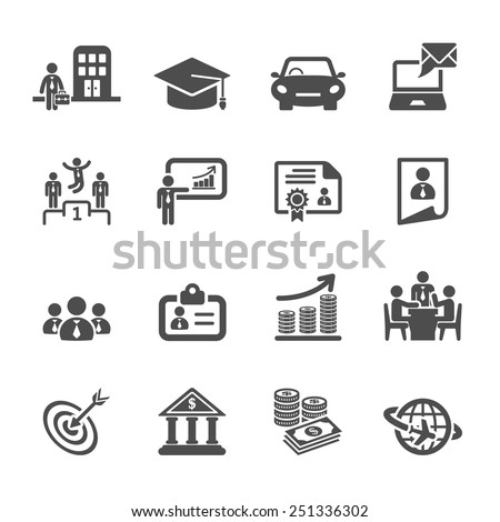 business career life cycle icon set, vector eps10. - stock vector