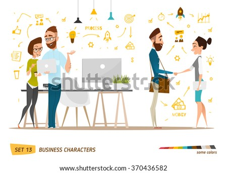 Business cartoon characters collection.  - stock vector
