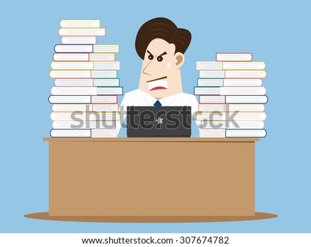 Business cartoon people very busy, Vector Illustration EPS 10. - stock vector