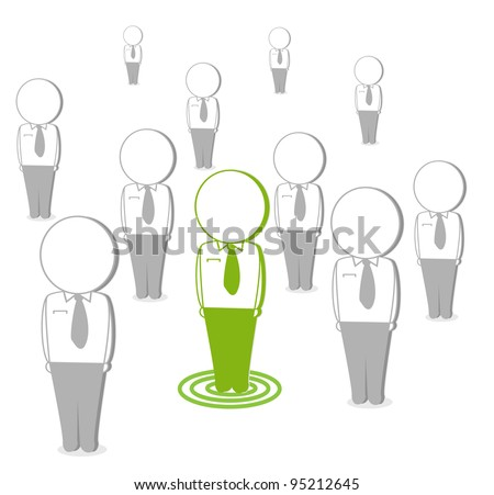 business cartoons, green with white isolated network - stock vector