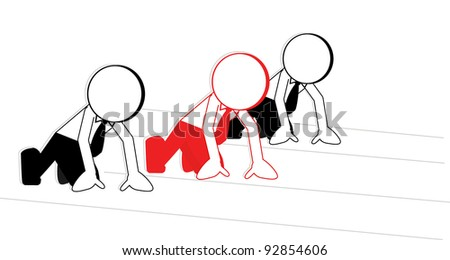 business cartoons red race in the middle of the front - stock vector