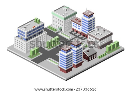 Business center modern 3d urban city office buildings decorative icons set isometric vector illustration - stock vector