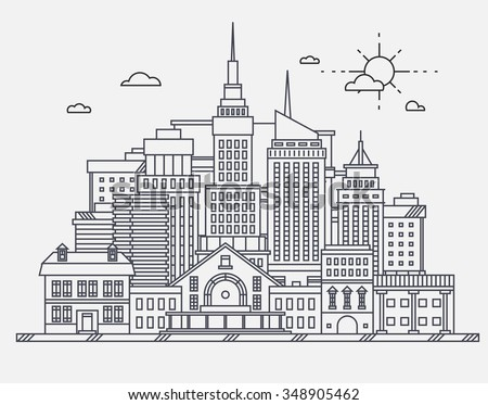 Business center of big city street skyscrapers megapolis buildings concept real estate architecture, commercial building and offices drawing in linear flat design  - stock vector