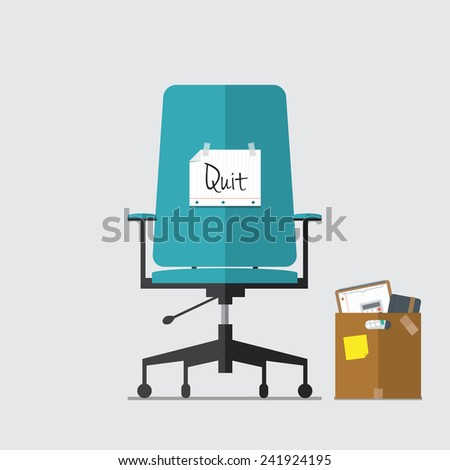 Business chair with quit message from employee or boss