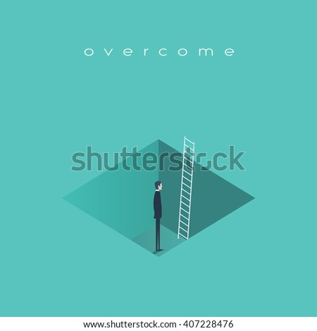 Business challenge concept with man standing in a hole with ladder. Finding solution, recover from crisis symbol. Eps10 vector illustration. - stock vector