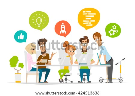 Business characters people team scene Teamwork in modern office Flat web vector illustration for infographics - stock vector