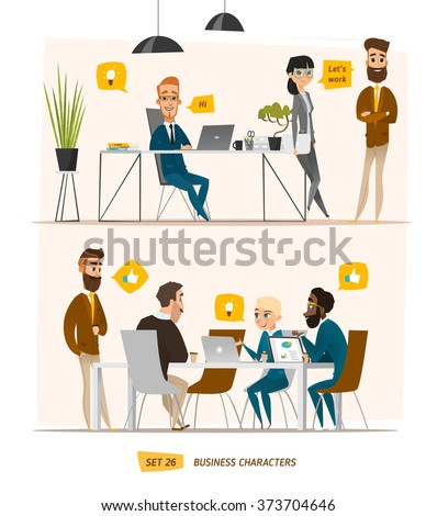 Business characters set. Working time in office - stock vector
