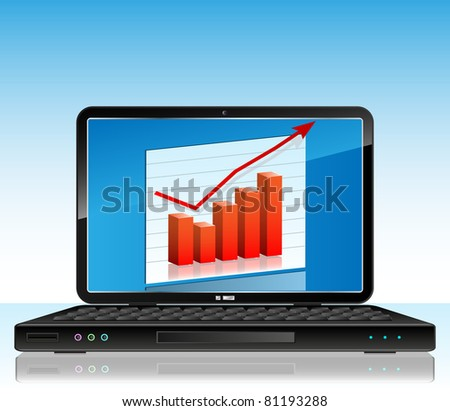 Business chart on laptop
