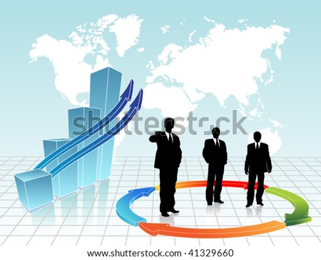 Business chart with businessmen and chart