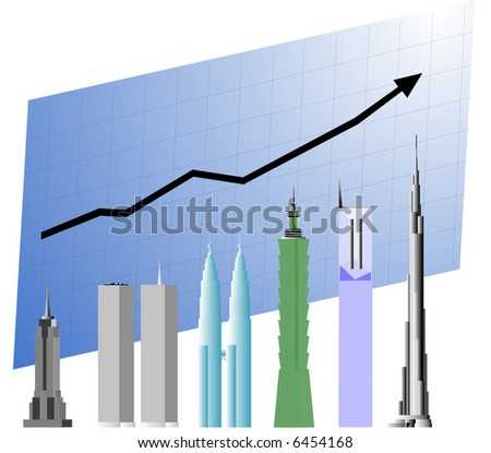 Business chart with world's tallest building that keeps on growing. - stock vector
