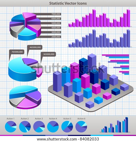 Business charts. Abstract business and industry web symbols - stock vector