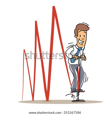 Business Charts concept. Cartoon Business Character. Manager Jumping a Pogo Stick. - stock vector