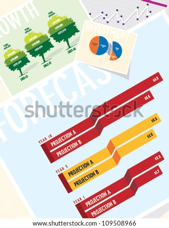 Business Charts: Forecast - stock vector