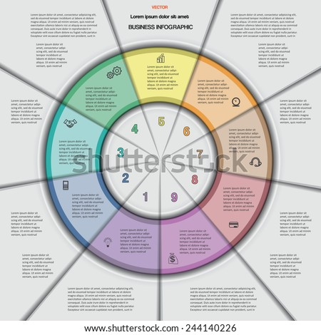 Business circular infographic for success project, workflow, web design, advertising banner and other Your variant. Vector illustration template with text areas on 9 positions.  - stock vector