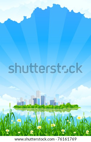Business City Landscape with clouds water and grass