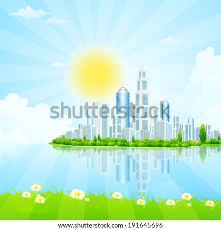 Business City on Island. Green Landscape. - stock vector