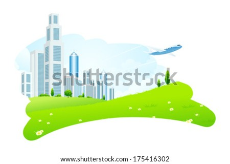 Business City with Aircraft and Green Grass - stock vector