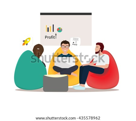 Business co working process. Three people make conversation and work together. Open space office. Man, girl, students, bag chair, colored vector illustration. - stock vector