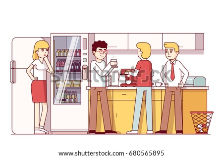 Business Colleagues Eating Together Corporate Office Stock Vector 680565895