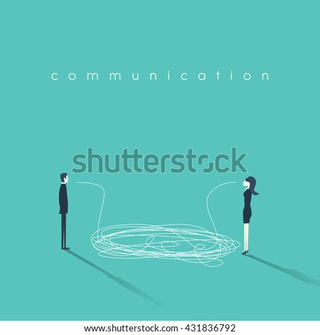 Business communication concept vector illustration. Issues and problems between men and women at work. Communication breakdown concept. Eps10 vector illustration. - stock vector