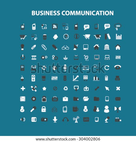 business communication flat isolated icons, signs, illustrations set, vector for web, application - stock vector