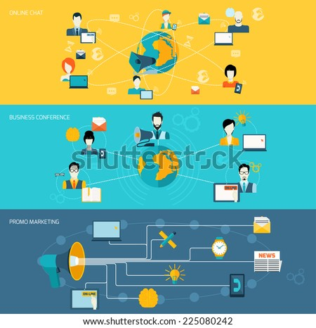Business communication promo marketing conference online chat banner set with megaphone isolated vector illustration - stock vector