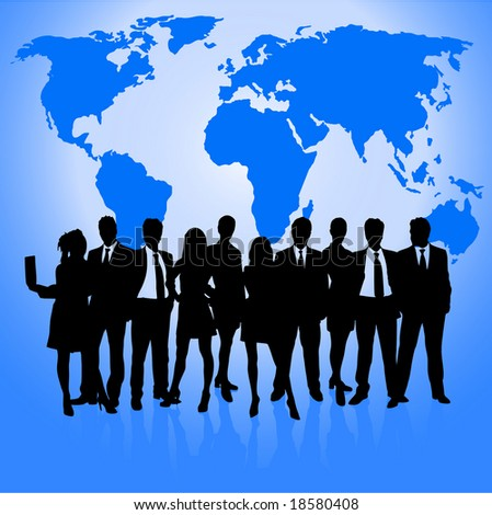 business communications concept with world map vector and business people vector silhoeuttes