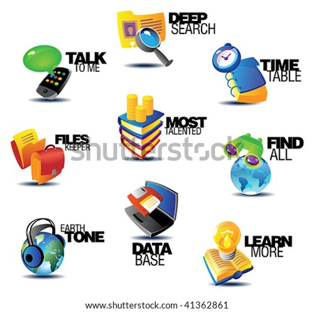 Business communications icons. Heading concepts for article or website. Vector illustration. - stock vector