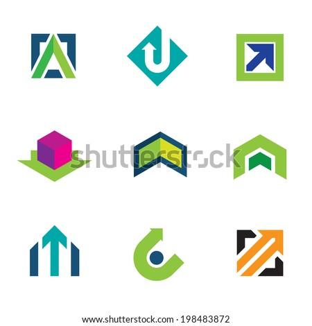 Business company economy green arrow progress logo icon set - stock vector