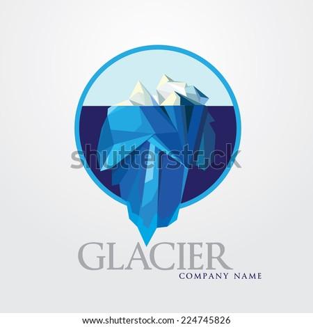 business company logo illustration- blue iceberg mountain- round symbol with underwater glacier - stock vector