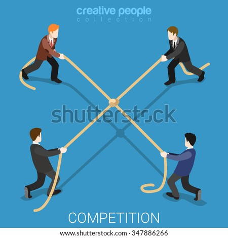 Business competition tie flat 3d isometry isometric concept web vector illustration. Businessmen tug-of-war rope pulling four sides draw knot node in center. Creative people collection. - stock vector