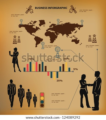Business concept, and map of the world,inforgraphics,vector - stock vector