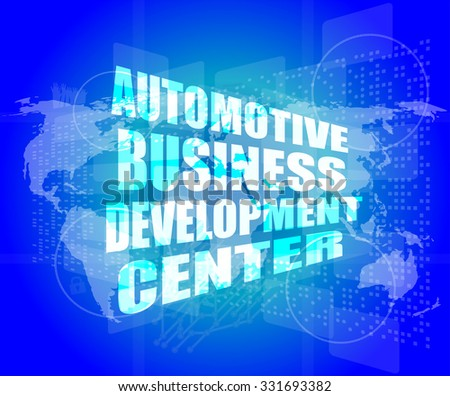 business concept, automotive business development center digital touch screen interface vector illustration - stock vector