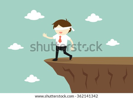 Business concept, Blindfolded businessman is walking to the cliff. Vector illustration. - stock vector