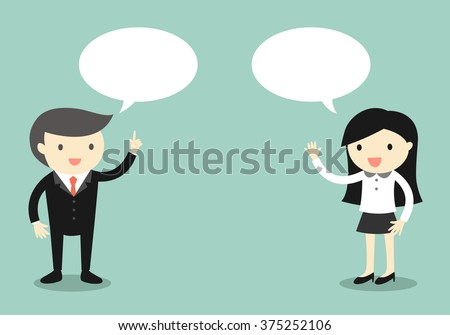 Business concept, Boss talking with business woman. Vector illustration. - stock vector