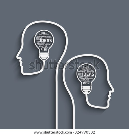 Business concept bulb made with words in a human brain. Vector Eps10 for your design - stock vector