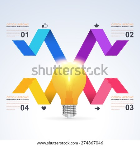 Business Concept Bulb, Numbers Infographics Selection Vector Design Template - stock vector