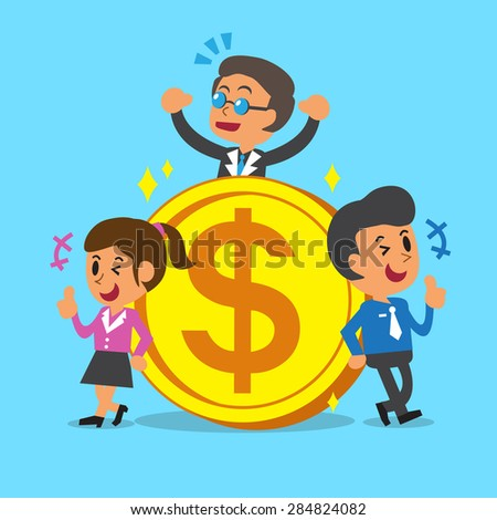 Business concept business team with a big coin - stock vector