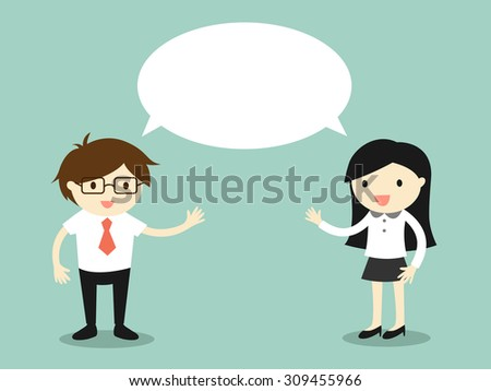 Business concept, businessman and business woman talking the same thing or same idea/concept. Vector illustration. - stock vector