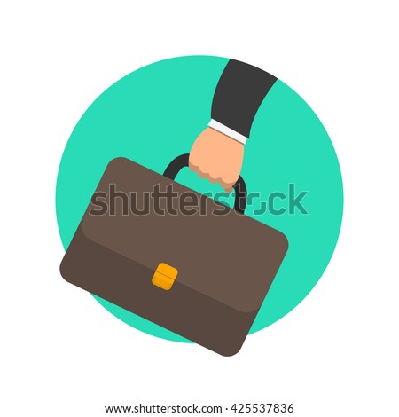 Business concept. Businessman hand holding briefcase with corporate company documents. Portfolio colored circle icon. Flat design vector illustration for website and promotion banners. Isolated - stock vector