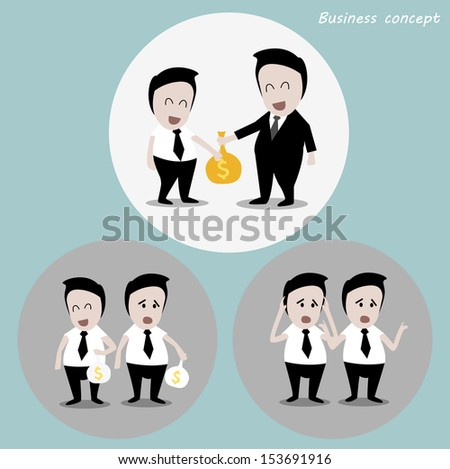 business concept : businessman with bonus - stock vector