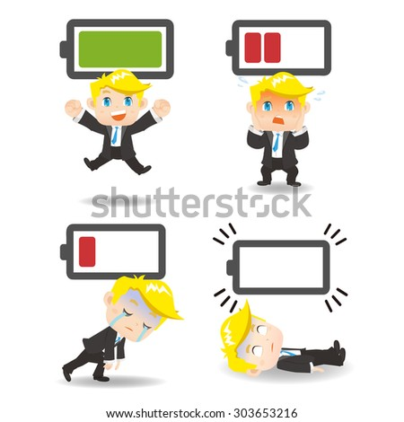 Business concept - Cartoon set of  business man with battery power - stock vector